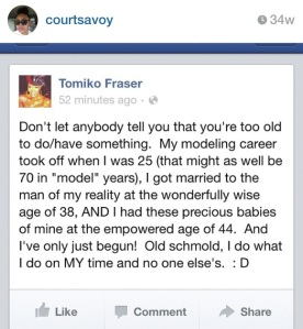 Stolen from my friend Courtney's IG, here's a snapshot of Tomiko's Facebook status earlier this year. Proof that you don't have to rush. In the mean time, love you so you can recognize love when it shows up.