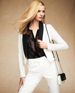Soiree Jacket $169, Chiffon Swiss Dot and Lace Blouse $89, Colorblock Crossbody Bag $68