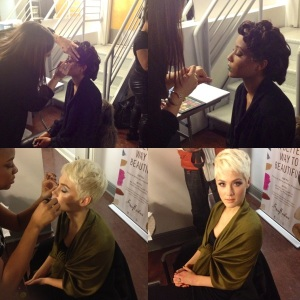 top; Celebrity MUA Jackie Gomez putting the finishing touches on a Korto Momolu model. bottom: A makeup artist lashing up one of the SheaMoisture cosmetic collection promo models