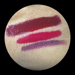 """From bottom to top: 1. MAC """"Currant"""" Lip Pencil, 2. Sephora Long-Lasting Vinyl Lip Lacquer in red, 3. Bottom layer of MAC topped with Sephora"""