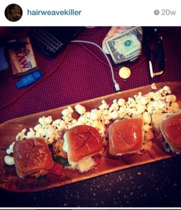 grilled chicken sliders with turkey bacon and cheddar and popcorn
