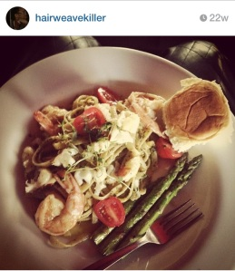 butter poached lobster and shrimp with basil pesto fettuccine and sautéed asparagus