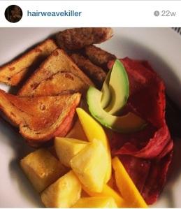breakfast... looks like cinnamon raisin toast, turkey bacon and sausage, mango and avocado